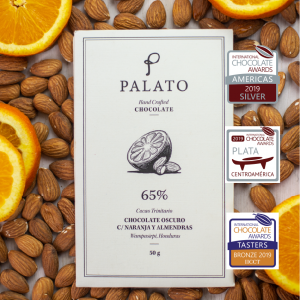 Palato 65% Dark Chocolate Bar with Milk Orange and Almonds