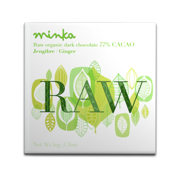 Minka Organic Raw Chocolate 77% With Ginger - 50g