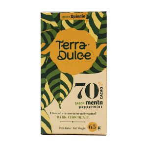 Terra Dulce Dark Chocolate Bar 70% Cacao Menta Peppermint 65g