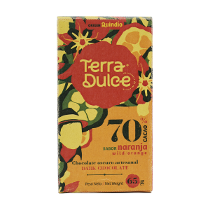 Terra Dulce Dark Chocolate Bar 70% Cacao Wild Orange Naranja - 65g