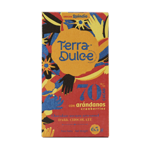 Terra Dulce Dark Chocolate Bar 70% Cacao with Cranberries Arandanos - 65g