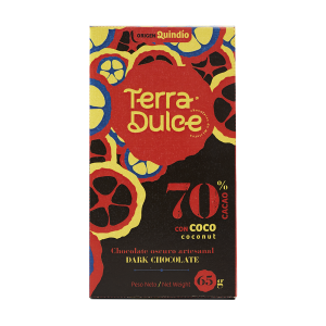 Terra Dulce Dark Chocolate Bar 70% Cacao ConCoco Coconut 65g