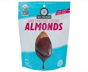 Taza Chocolate Covered Almonds Bag -Dark Chocolate Bag - 119gm