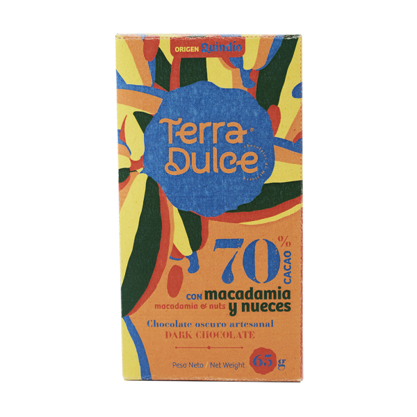 Dark Chocolate 70% Cacao with macadamia and nuts 65 g